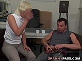 Grandmother, German, Office, At work, European, Old, Granny, Cock, Young, Hardcore, Blowjob